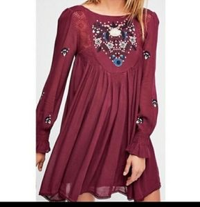 Free People Mohave Burgundy Embroidered Dress